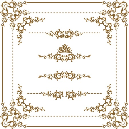 filigree background: Vector set of decorative horizontal elements, border and frame. Basic elements are grouped.