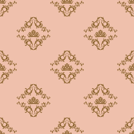 Seamless pattern - damascus pattern on a beige background Vector