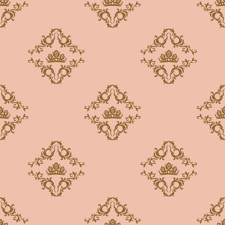 Seamless pattern - damascus pattern on a beige background Illustration