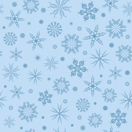 Seamless pattern. Blue snowflakes on a background. Vector