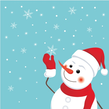 Funny snowman catches a snowflake. Christmas background. Vector