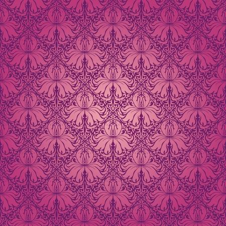 beige stof: Naadloze bloemmotief. Beige bloemen op een paarse achtergrond. EPS 10