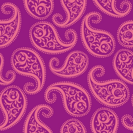 paisley wallpaper: Seamless vector pattern. Rose paisley on a purple background.