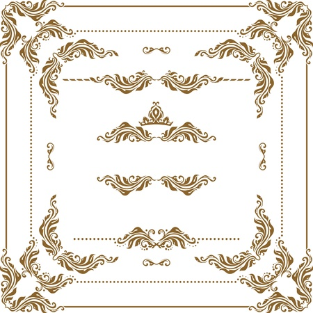 scroll shape: Vector set of decorative horizontal elements, border and frame. Basic elements are grouped.