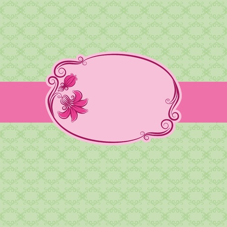 pink banner: Template frame design for greeting card . Seamless background.