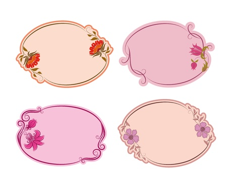 fashion label: Set of ornate vector frames . Floral design. Basic elements are grouped.