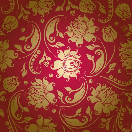 Seamless floral pattern. Beige flowers on a red background. Vector