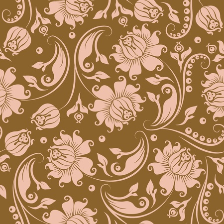 victorian textile: Seamless floral pattern. Beige flowers on a gold background. Illustration