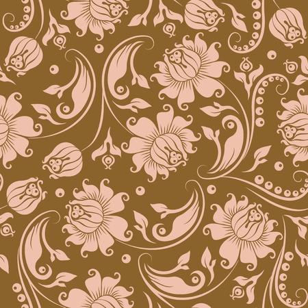 brocade: Seamless floral pattern. Beige flowers on a gold background. Illustration