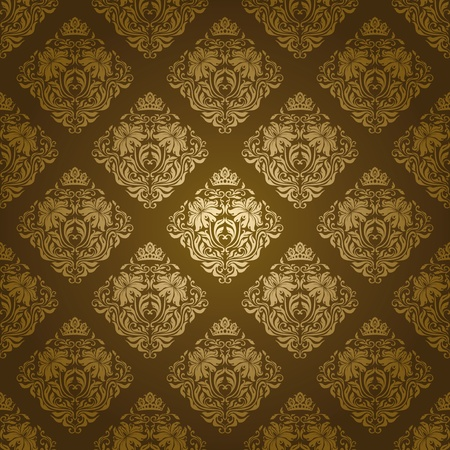 Seamless damask pattern. Flowers on a green background.  Illustration