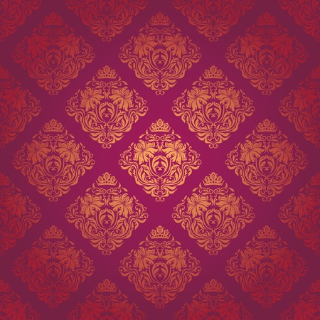 Seamless damask pattern. Flowers on a red background.  Vector