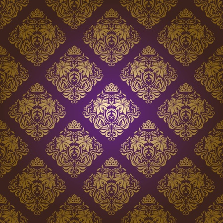 Seamless damask pattern. Flowers on a purple background.  Vector