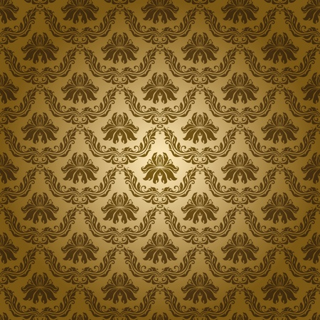 Seamless floral pattern. Flowers on a gold background. Vector
