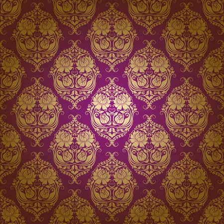 Damask seamless floral pattern. Flowers on a purple background. Vector