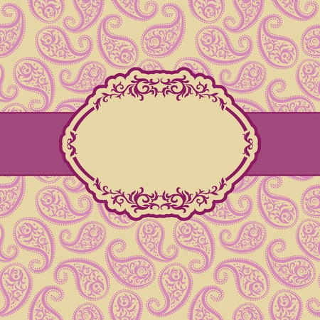 vintage retro frame: Template frame design for greeting card . Background - seamless pattern.