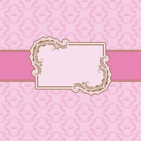 lattice frame: Template frame design for greeting card . Background - seamless pattern.