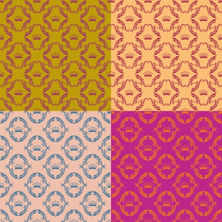 Set of 4 seamless damask pattern. Each seamless pattern is grouped on a separate layer. Vector
