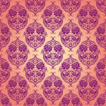 Damask seamless floral pattern. Flowers on a rose background. EPS 10 Illustration