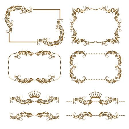 vine border: Vector set of decorative horizontal elements, border and frame