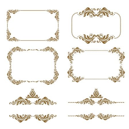 Vector set of decorative horizontal elements, border and frame