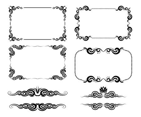 grens: Vector set van decoratieve horizontale elementen, grens en frame Stock Illustratie