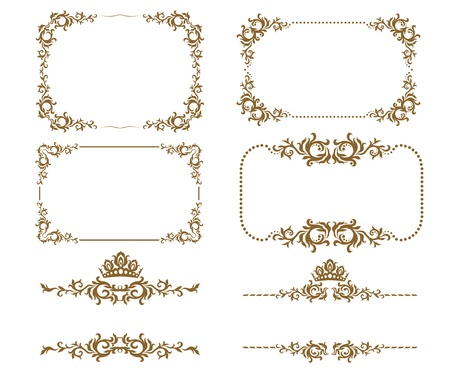Vector set of decorative horizontal elements, border and frame Stock Vector - 12041913