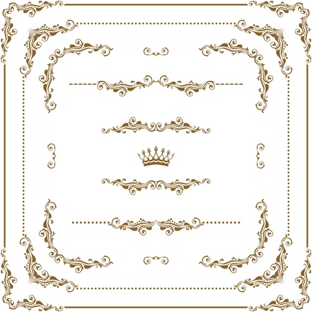 Vector set of decorative horizontal elements, border and frame Vector
