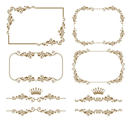 Vector set of decorative horizontal elements, border and frame Vector