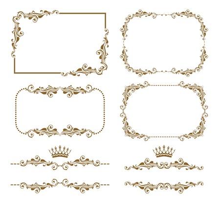 Vector set van decoratieve horizontale elementen, grens en frame Stock Illustratie