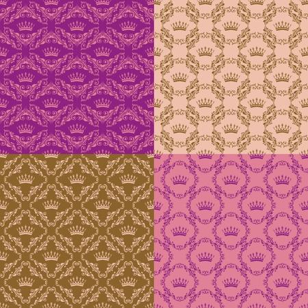 Set of 4 seamless damask pattern. Vector