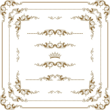 Vector set of decorative horizontal elements, border and frame. Basic elements are grouped.