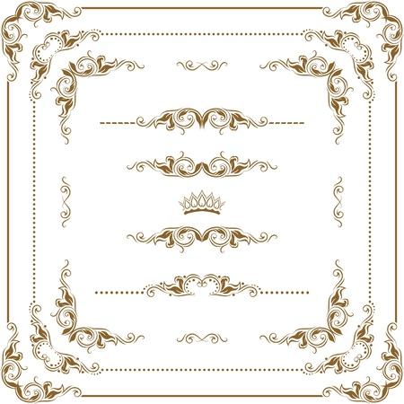 ozdobně: Vektorové sada dekorativních prvků vodorovných, hranice a rámem. Základní prvky jsou seskupeny.