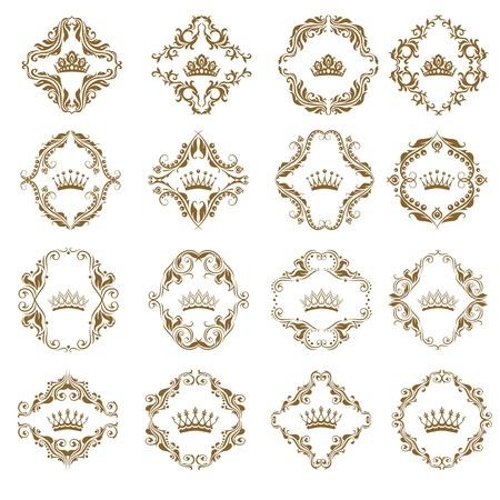 Victoriaanse kroon en decoratieve elementen. Stock Illustratie