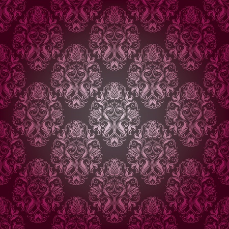 Seamless damask pattern. Flowers on a gray background. EPS 10 Vector