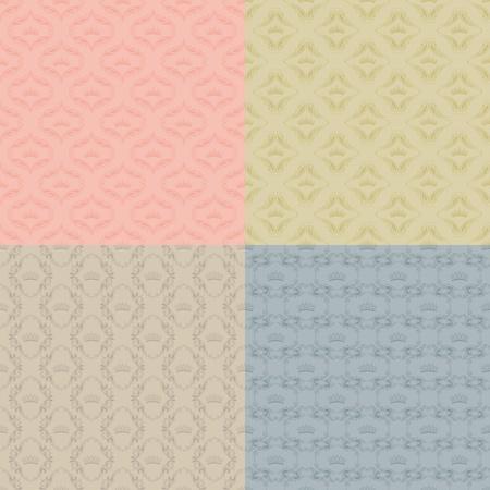 Set of 4 seamless damask pattern Vector