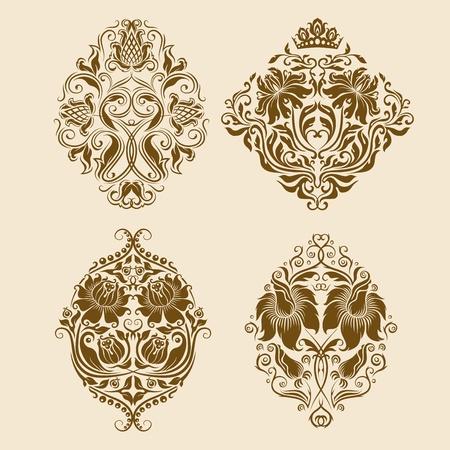 ベクトルのダマスク織の飾りのセット  イラスト・ベクター素材