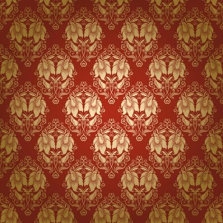 ダマスク織のシームレスな花柄 写真素材 - 12776625