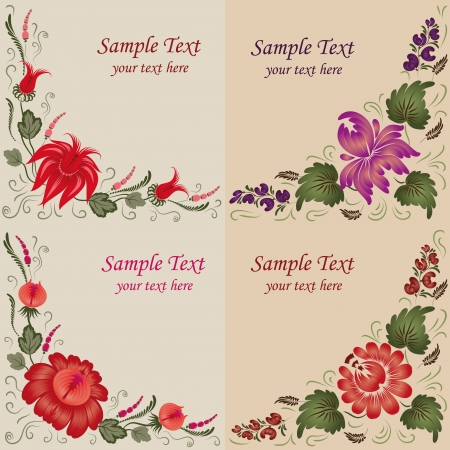 Set of 4 floral background  Flowers on a beige background  Vector