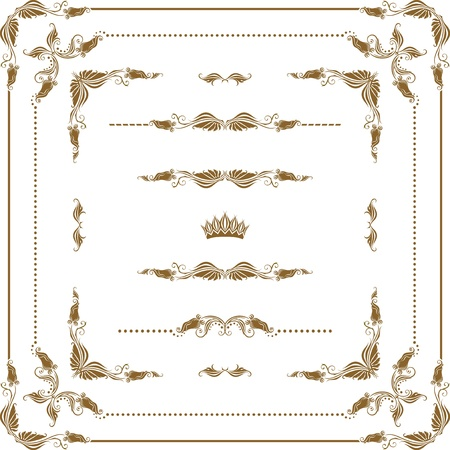 Vector set of decorative horizontal elements, border, frame