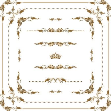 Vector set van decoratieve horizontale elementen, grens, frame