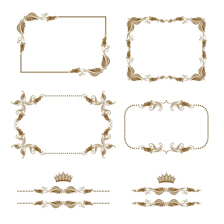 Vector set of decorative horizontal elements, border, frame   Stock Vector - 12776632
