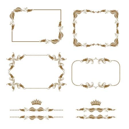 filigree: Vector set of decorative horizontal elements, border, frame