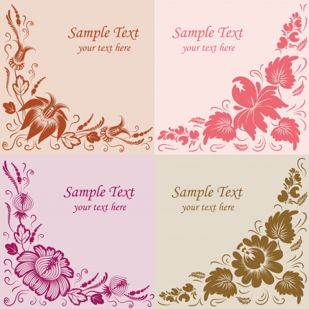 Set of 4 floral background  Flowers on a background  Vector