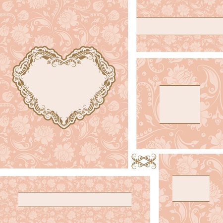 Vector ornate wedding frame set with heart frame  Vector