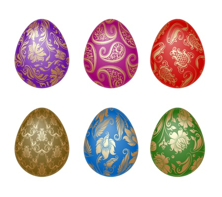 Set of Easter eggs with ornaments Vector