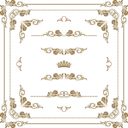 Set of decorative horizontal elements, border, frame Vector
