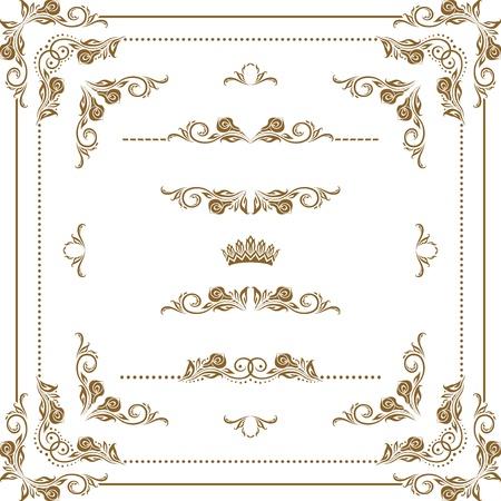 Set van decoratieve horizontale elementen, grens, frame Stock Illustratie