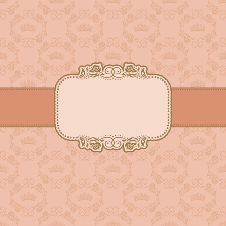 peaches: Template frame design for greeting card   Illustration