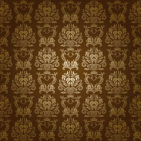 Damask seamless floral pattern  Flowers on a brown background  EPS 10 Vector