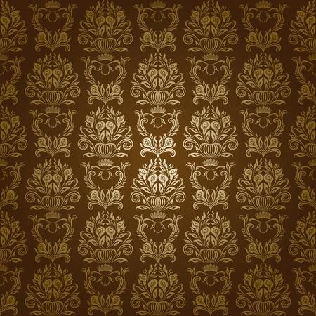 EPS 10 茶色の背景にシームレスなフローラル ダマスク花